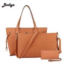 Fashion New 2017 Embossing PU woman handbag set Qualities lady tote bolsa zipper plaid Luxury shoulder