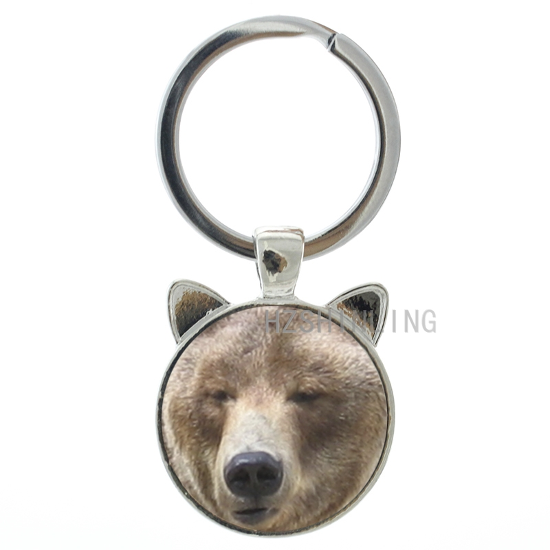 Cool wild animal Bears keychain vintage Cartoon teddy bear Polar Bear pture glass cabochon ear key chain ring holder CN516