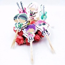 24pcs Childrens Birthday Party Guitar Cake Topper Decoration Insert Cardfestival Paperboard Supplies