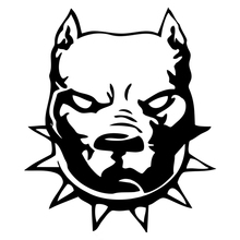 CS-421#17.4*15cm pit bull head  funny car sticker and decal silver/black vinyl auto stickers