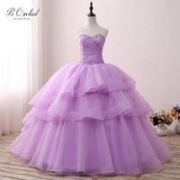 PEORCHID Stunning Puffy Lavender Quinceanera Dresses Ball Gown 2019 15 Birthday Vestido Debutante Organza Princess Prom Gowns