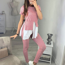 2PCS Women Ruffles Patchwork Tracksuits Set Lounge Wear Ladies Top Suit Pant Y722