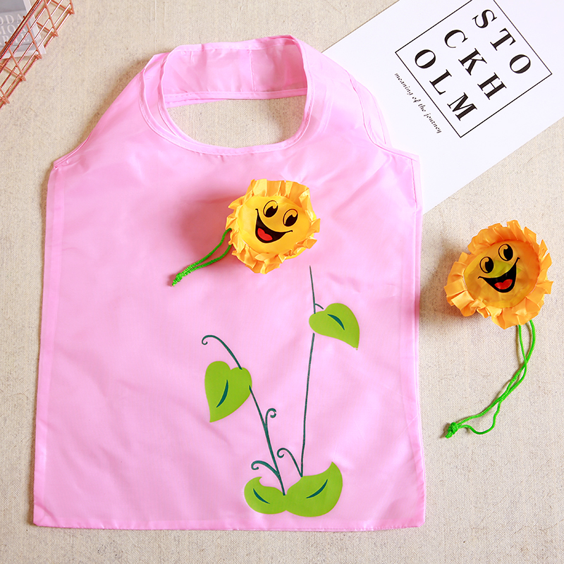 New Sun flower Creative environmental storage bag Handbag Foldable Shopping Bags Reusable Folding Grocery Nylon eco tote Bag in Shopping Bags from Luggage Bags