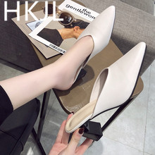 HKJL Spring 2019 women outside wearing slippers retro pointy gentle wind muller shoes chunky heel baotou lazy half A359