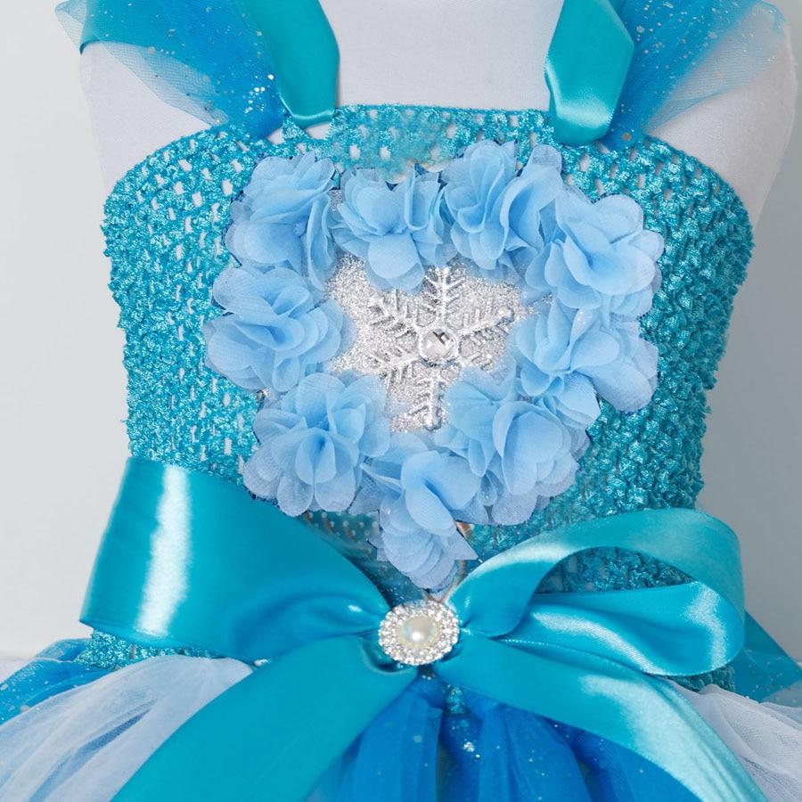Princess Girls Elsa Tutu Dress For Children Tulle Birthday Party ...