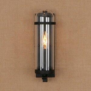 Image 1 - Outdoor waterdichte retro cilindrische glazen wandlamp industriële restaurant bar studie smeedijzeren wandlamp
