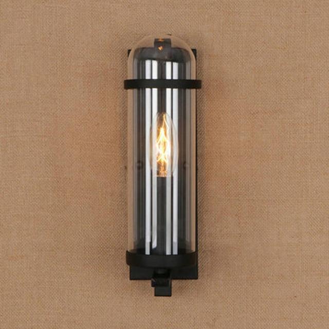 Outdoor waterdichte retro cilindrische glazen wandlamp industriële restaurant bar studie smeedijzeren wandlamp