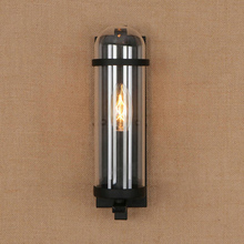 Outdoor waterproof retro cylindrical glass wall lamp industrial restaurant bar study wrought iron wall lamp