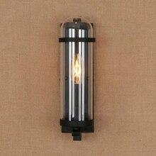 กลางแจ้งกันน้ำ retro ทรงกระบอกแก้วโคมไฟอุตสาหกรรมร้านอาหารบาร์ศึกษา wrought iron โคมไฟ