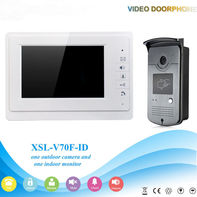 7 Inch Door Viewer Video Doorbell Home Security Camera Monitor Intercom System Doorbell Entry Kit with RFID Keyfobs
