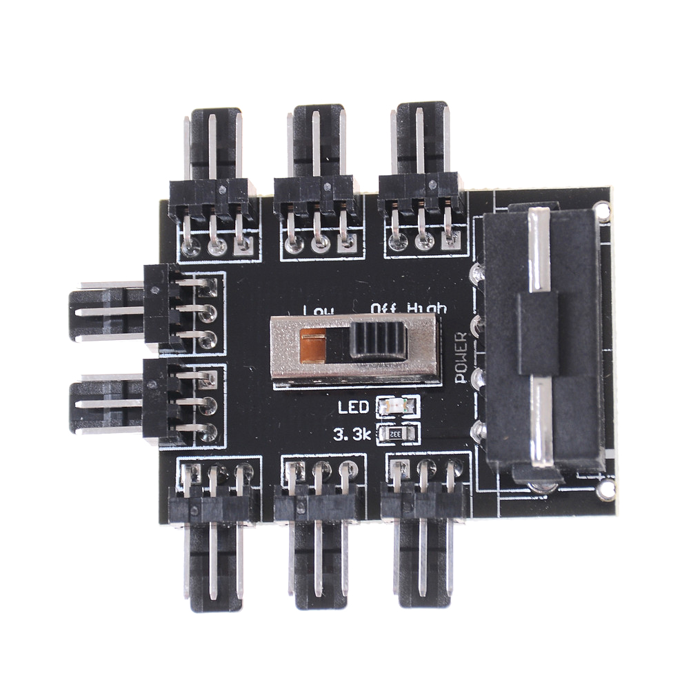 Computer IDE Molex 1 To 8 Multi Way Splitter Cooler Cooling Fan Hub 3Pin 12V Power Socket PCB Adapter 2 Level Speed Control