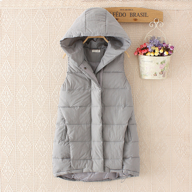 2016 Fall and Winter Sleeveless Coat Women New Korean Long Loose Slim Thick Cotton Vest Female Warm Quality Hoodie Vests JA630
