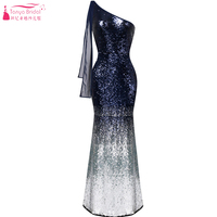 Mermaid Sequined Bridesmaid Dresses 2018 Fashion Contrast color Maid Of Honor Gowns One shoulder Night wear Formal Gown ZB002