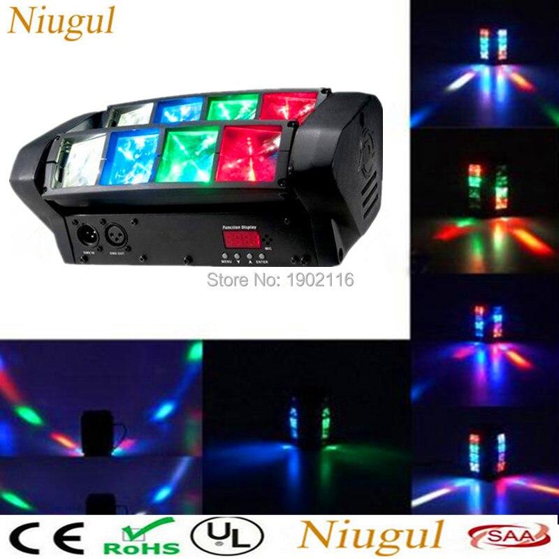Niugul Mini LED Spider Light RGBW 8PCS leds Beam moving lights Professional for Party KTV Disco DJ DMX LED Stage effect Lighting