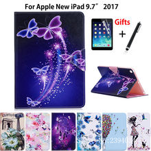 Tablet Case For Apple New iPad 9.7 2017 2018 A1822 A1893 9.7 inch Smart Cover Fashion Girl Cat Flip Stand Skin Funda+Film +Pen
