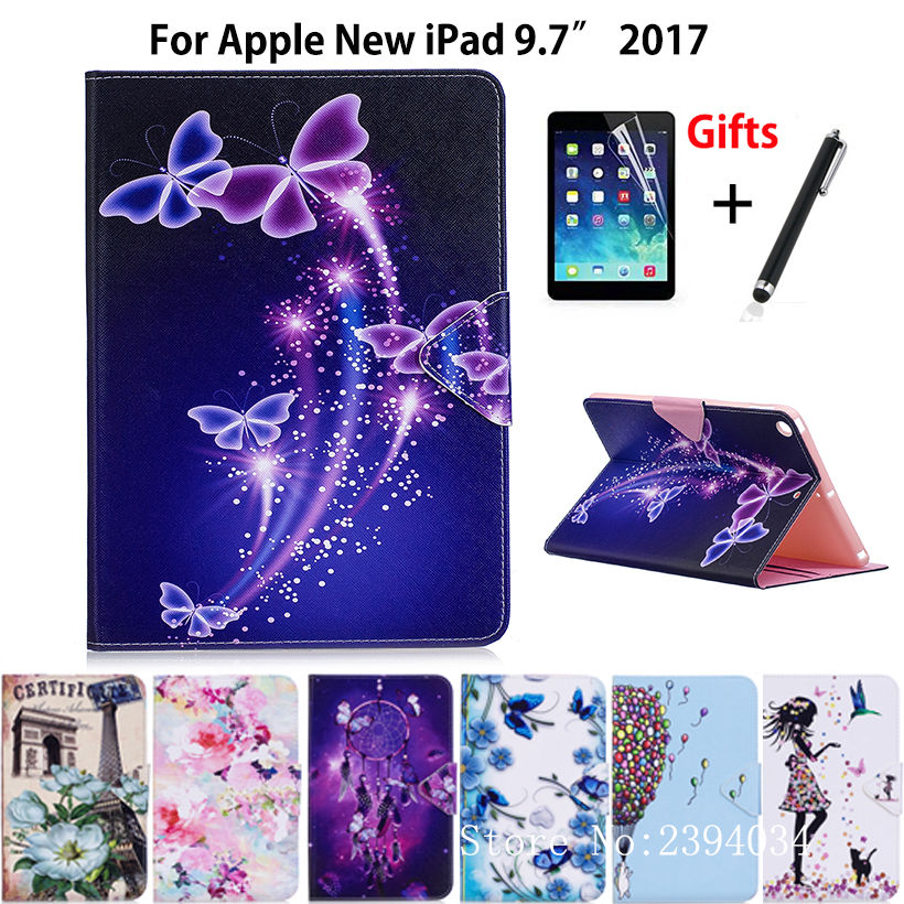 Tablet Case For Apple New iPad 9.7 2017 A1822 9.7 inch Smart Cover Fashion Girl Cat Flip Stand PU Leather Skin Funda+Film +Pen nice soft silicone back magnetic smart pu leather case for apple 2017 ipad air 1 cover new slim thin flip tpu protective case