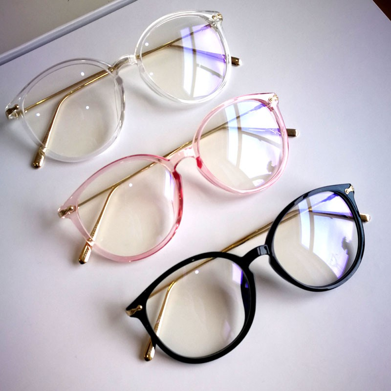 3 Colors Eyewear Fashion Women Vintage Round Glasses Female New Arrival Alloy Frame Spectacle Plain Glasses image