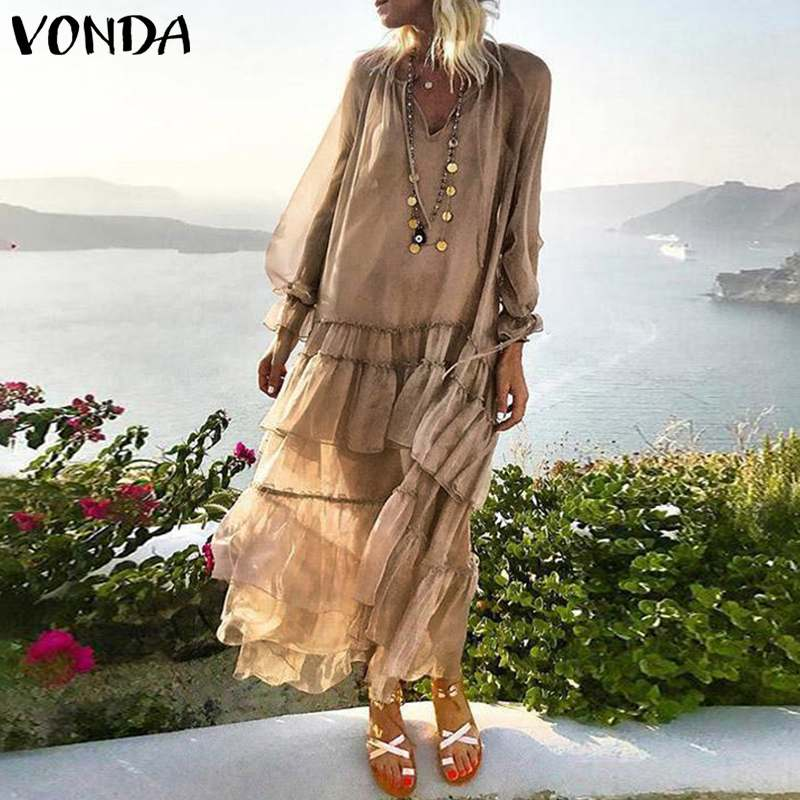 VONDA Maternity Robe Bohemian Dress <font><b>Femme</b></font> <font><b>Sexy</b></font> Beach Cover-Up Long Dresses <font><b>5XL</b></font> Elegant Solid Color Beach Pregnancy Sundress image