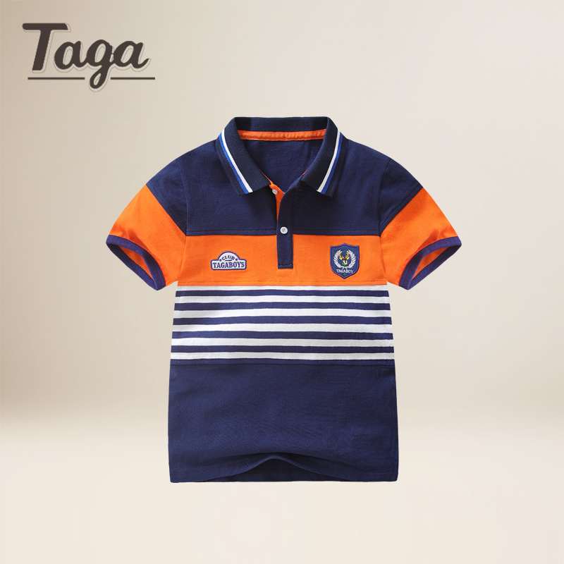 TAGA 2017 New Summer Strip Boys shirts Cotton Kids Tops Sports Tee Turn-down Collar Boys Polo Shirts 3-14Y Childrens Clothes