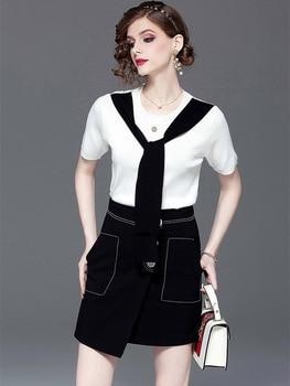 High Quality Fashion Designer Two Piece Women 2019 Summer New T-shirts + Skirt Elegant Street Top Skirt Sets Female Summer L247