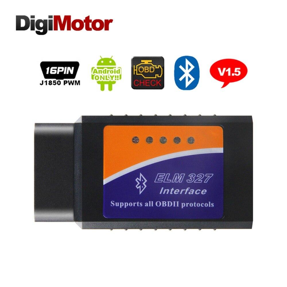 Digimotor Real ELM327 Bluetooth V1.5 OBD2 ELM 327 V 1.5 OBDII Leitor de Código de Ferramenta de Diagnóstico Mini Scanner OBD 2 Carro Ferramenta de diagnóstico-