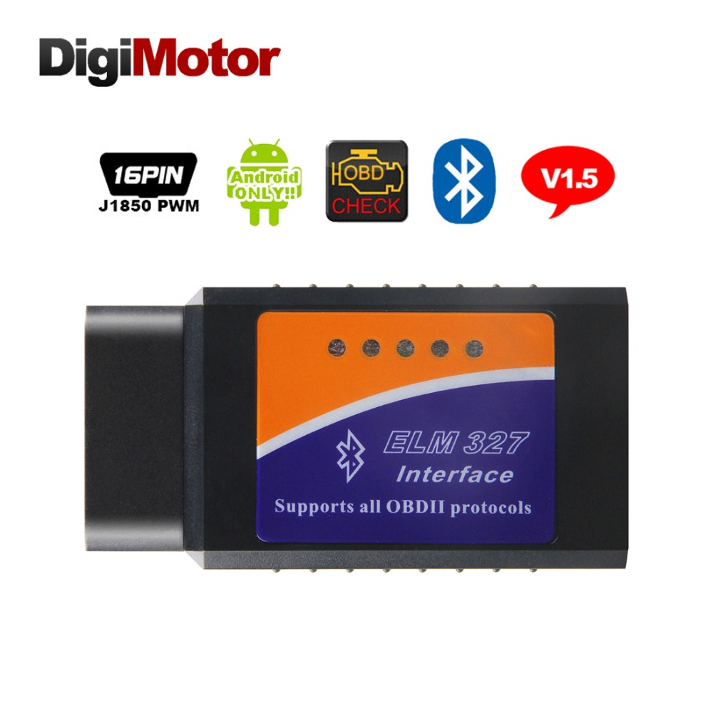 Digimotor Real ELM327 V1.5 Bluetooth OBD2 ELM 327 V 1.5 OBDII Code Reader Diagnostic Tool Mini Scanner OBD 2 Car Diagnostic-Tool ft232rl chip real elm327 v1 5 plastic obdii eobd canbus scanner automotive obd2 scan tool elm 327 v 1 5 usb diagnostic tool