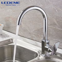 LEDEME Kitchen Faucet 360 Degree Rotation Rule Shape Curved Outlet Pipe Tap Basin Plumbing Hardware Brass