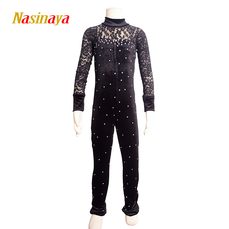 Nasinaya Figure Skating Leotard Jumpsuit For Girl <font><b>Kids</b></font> Women One Piece Customized Patinaje Ice Skating Costume <font><b>Gymnastics</b></font> 14 image