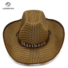New Plaid Unisex Western Cowboy Hats Trend Straw Weavings Tourist Cap Wide