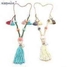 Женское богемное ожерелье ручной работы длинное с бахромой и