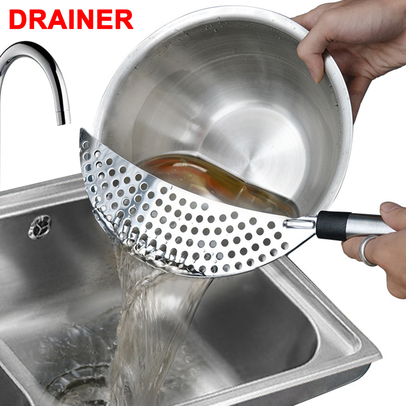 Stainless Steel Handheld Drainer Slag Remover Filter Separation Colander Home Kitchen Tool Hot Sale in Colanders Strainers from Home Garden
