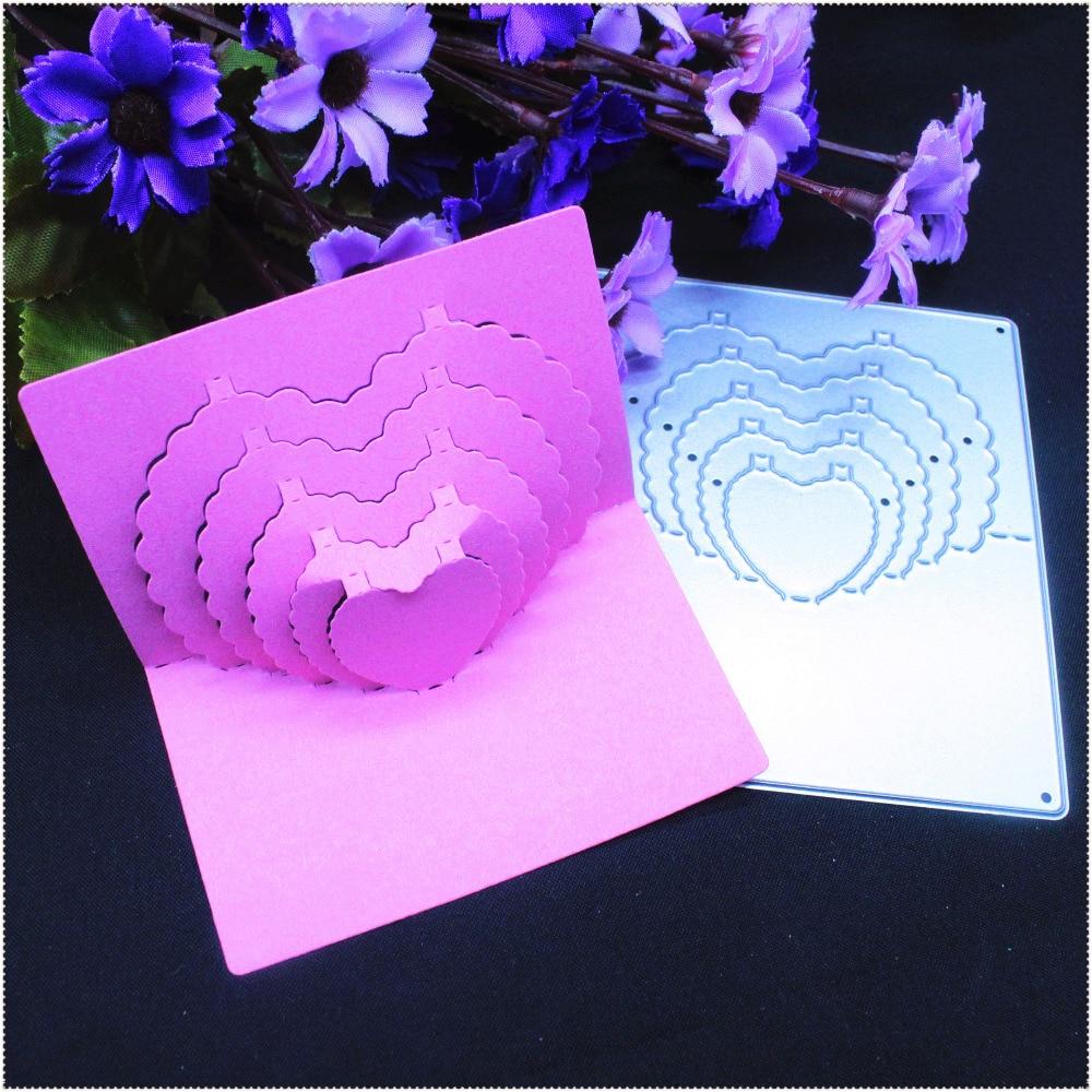 Մետաղյա կտրումը մահանում է 3D ստերեոն համակենտրոնով Քաղցր սեր սիրտ գրքույկ քարտ Թուղթ արհեստ տուն զարդարանք դաջող ստեղնաշար դանակ