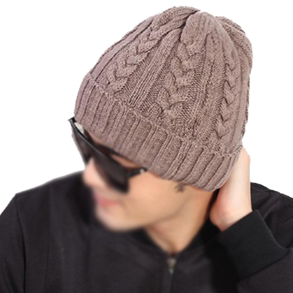 ZIYI chaude Homme Bonnets Crochet Chapeaux Laine Chaude Tricot Chapeau  Turban Tricoté Chapeau Kaki 66faccdd569