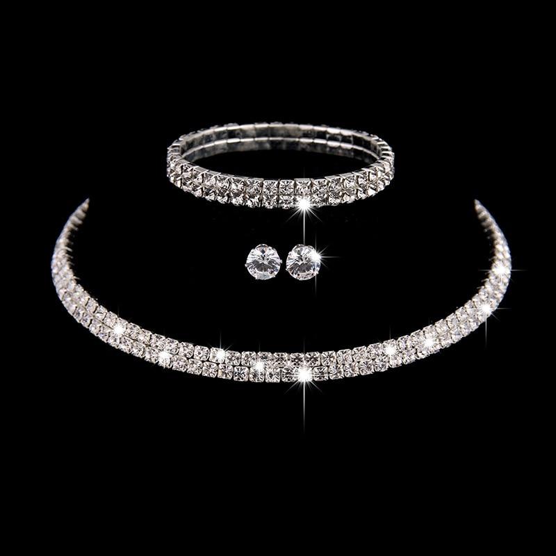 Necklace Bridal-Jewelry-Sets Rhinestone Sparkling Earrings-Set Choker Crystal Brcaelet