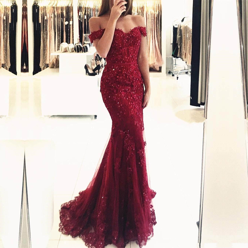 Off the Shoulder Long Mermaid Evening Dresses Lace abiti da sera Applique Robe De Soiree longue Formal Gowns abiye gece elbisesi