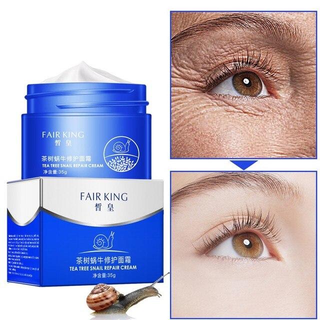 Árbol de té reparar la piel Caracol esencia Anti-envejecimiento crema Facial hidratante nutritiva colágeno esencia crema Facial con ácido hialurónico