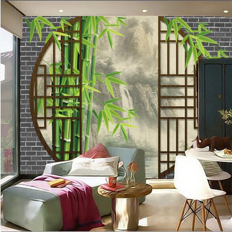 Пользовательские 3D фрески, китайский стиль пейзаж, чернила пейзаж за дверью Papel де Pa ...