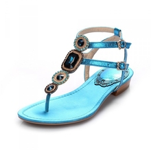 2016 Summer Newest Gold Rosa Red Blue Cowhide T-strap Belt Buckle Luxury Diamond 2 CM Low Thick Heels Women Sandals Shoes