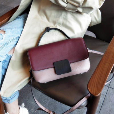 Women Genuine Leather Bag Messenger Bag contrast color ladies Crossbody Handbag Famous Designer Female Handbag Shoulder