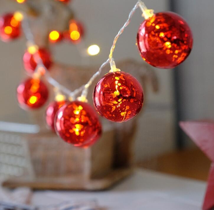1,5 m 10 LED bola roja luces de color Festival de la decoración de casa habitación luz de la secuencia
