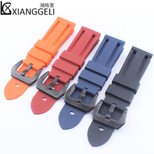 Купить с кэшбэком Outdoor sports silicone strap watch accessories 24mm pin buckle rubber strap for Panerai PAM380 351 111 men watch band