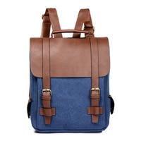 2018 Fashion Women Canvas Leather School Vintage Backpack Men Small Schoolbag Mochila Feminina Brown Black Backpacks Kanken