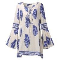 S 5XL ZANZEA Womens Boho Lace Up V Neck Shirt Floral Print Flare Sleeve Casual Loose