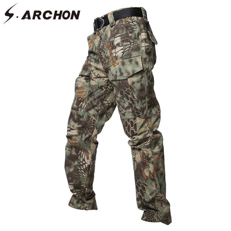 S.ARCHON Military Camouflage Tactical Pants Men Rip Stop Waterproof Army Combat Pants Male Soldier Airsoft Cotton Cargo Trousers