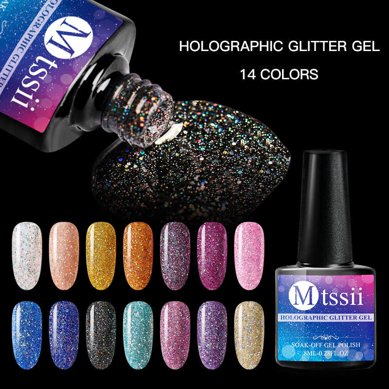 Mtssii 8 Ml Holographic Kerlap-kerlip Platinum UV Kuku Gel Polandia Rainbow Colorful Shimmer Manicure Uv Dipimpin Rendam Off Nail Art pernis