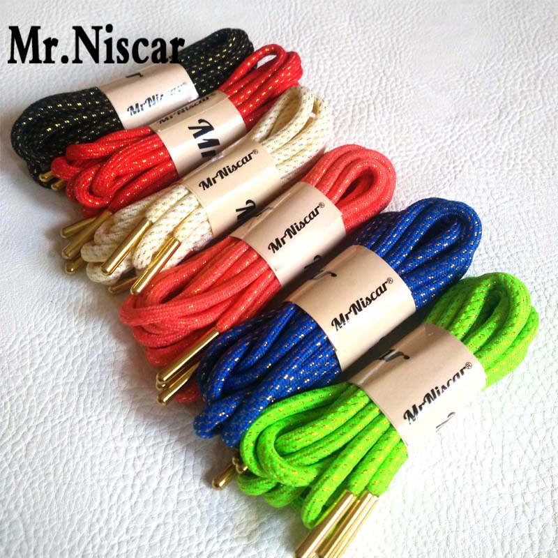 Mr.Niscar 5 Pair Round Shoelaces Metal Gold Wire Shoelace Sports Basketball Strings Bootlaces Outdoor Hiking Casual Shoe Laces 45 neon orange 5 16 flat shoelace for all basketball shoes