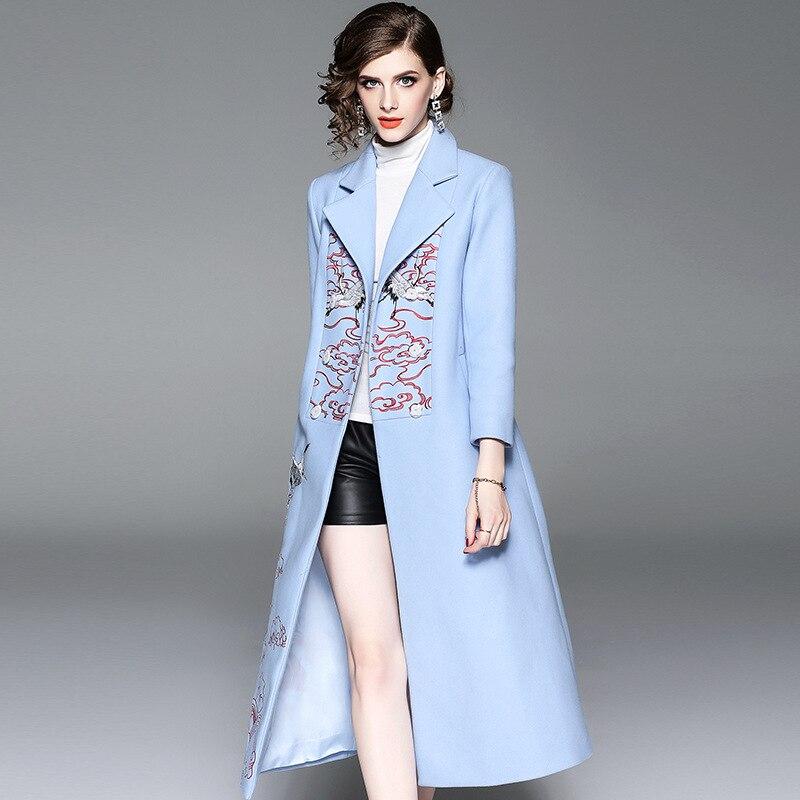 2018 Mode Laine Longs Manteaux D'hiver Femmes Vintage Broderie Laine et Mélanges Manteau Pardessus Femme Plus La Taille En Laine Manteau Outwear