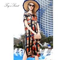 Женское платье из натурального шелка бренд оригинальный Befree свободные платья с принтом сетки уникальный племя Лето M L XL XXL большой