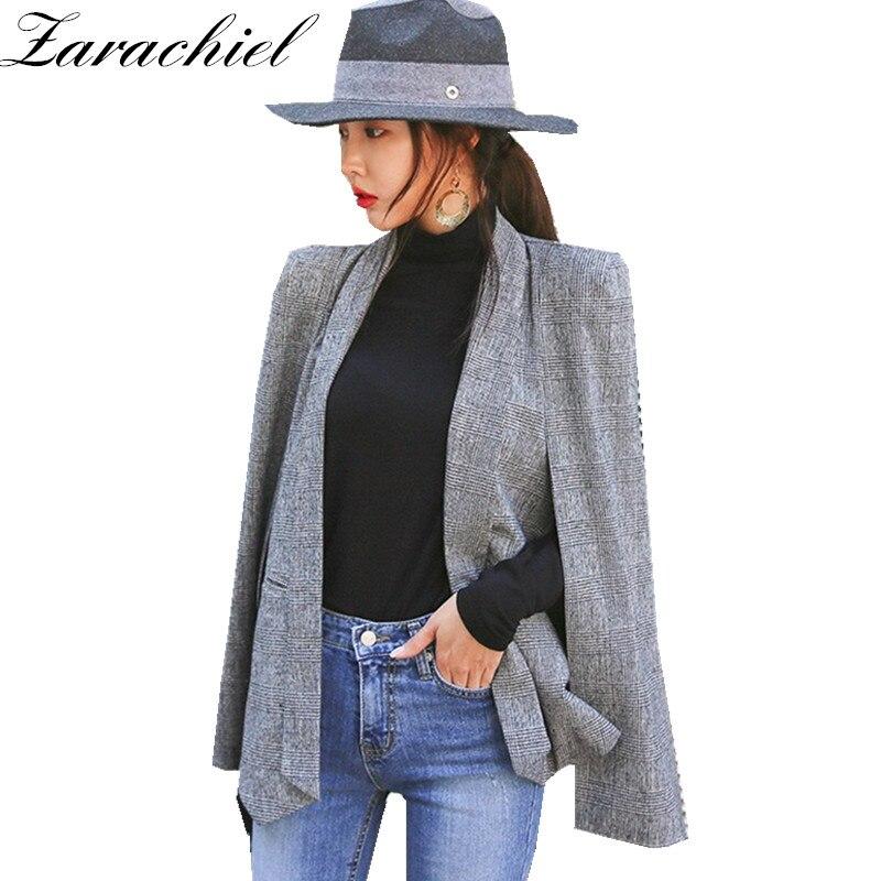 Zarachiel Fashion Cloak Cape Blazer Women Work Wear Open Front Poncho Coat Notch Lapel Split Long Sleeve Casual Slim Suit Jacket