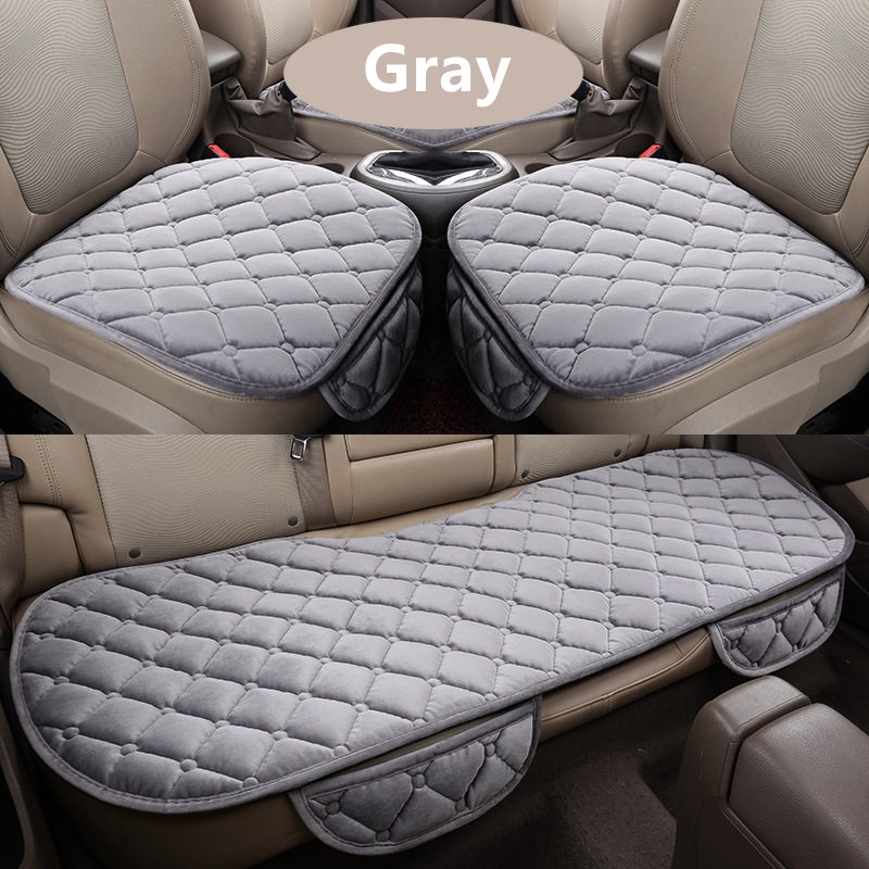 3Pcs Set Car Supplies Square Style Luxurious Warm Car Seat Cover Cushion Winter Universal Front Back